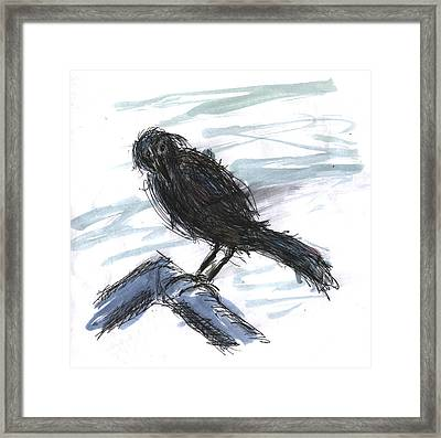 Crow In The Wind Framed Print