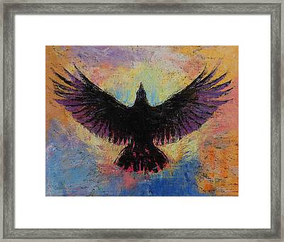 Crow Framed Print by Michael Creese