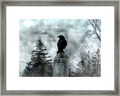 Crow On A Obelisk In Winter Framed Print by Gothicrow Images