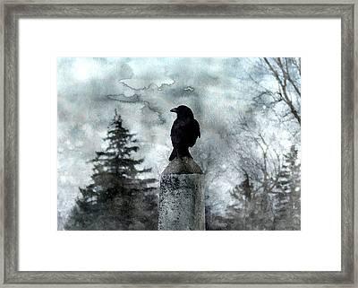 Crow On A Obelisk In Winter Framed Print