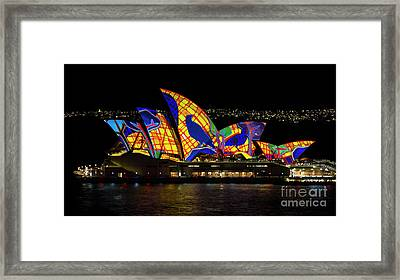 Crow Sails - Sydney Opera House - Vivid Sydney Framed Print by Bryan Freeman