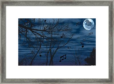Crow Sings At Midnight Framed Print by Evelyn Patrick