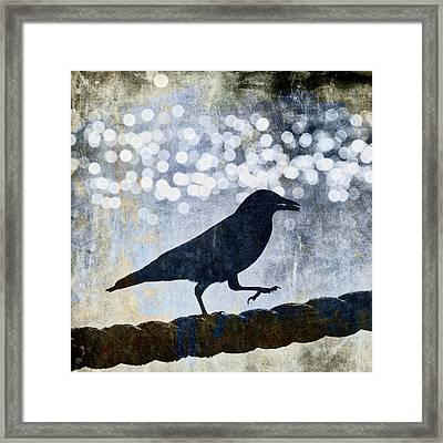 Crow Walking The Line Framed Print