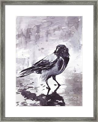 Crow Watercolor Framed Print