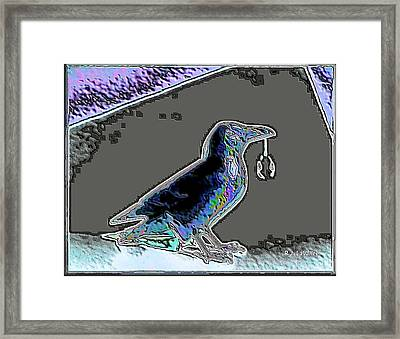 Crow With Crystal 2 Framed Print