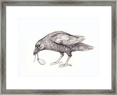 Crow With Locket Framed Print by Peggy Wilson