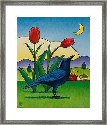 Crow With Red Tulips Framed Print