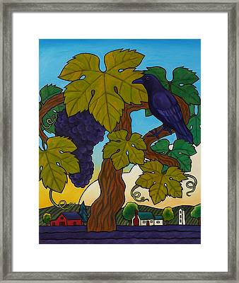 Crow With Wine On The Vine Framed Print by Stacey Neumiller