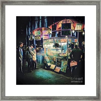 Crowd Around Food Cart At Night Framed Print