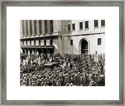 Crowd Gathers Outside The New York Framed Print