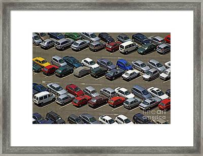 Crowded Carpark Full Of Cars Framed Print by Sami Sarkis