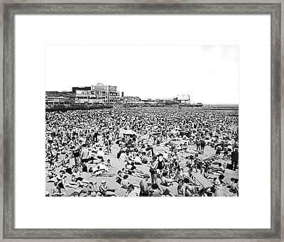 Crowds At Coney Island Beach Framed Print