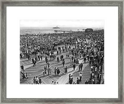 Crowds At Coney Island Framed Print