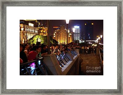 Crowds On The Bund Framed Print