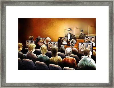 Crown Kevin Gowdey Delivers Opening Address At The Rafferty Trial Framed Print by Alex Tavshunsky