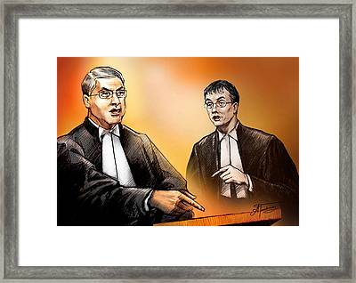 Crown Michael Carnegie Versus Defence Lawyer Dirk Derstine At The Rafferty Trial Framed Print by Alex Tavshunsky