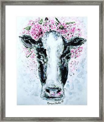 Crown Of Flowers Cow Framed Print