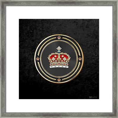 Crown Of Scotland Over Black Velvet Framed Print