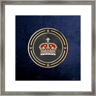 Crown Of Scotland Over Blue Velvet Framed Print