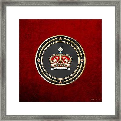 Crown Of Scotland Over Red Velvet Framed Print