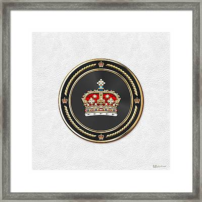 Crown Of Scotland Over White Leather  Framed Print