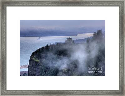 Crown Point Vista House Fog Columbia River Gorge Oregon Framed Print