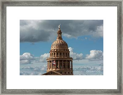 Crowning The Dome Of The Texas State Capitol Stands The Goddess  Framed Print