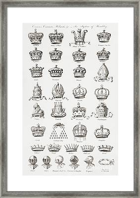 Crowns, Coronets And Helmets Framed Print