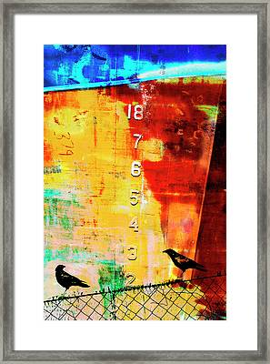 Crows By The Numbers Mixed Media Framed Print