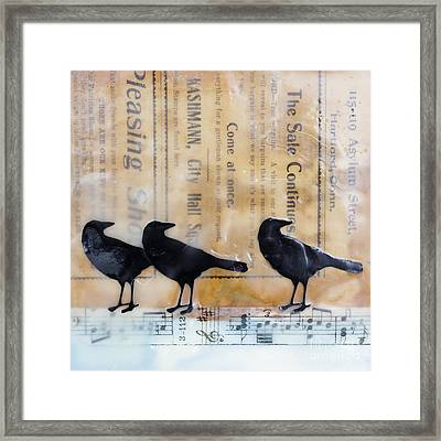 Crows Encaustic Mixed Media Framed Print by Edward Fielding