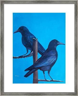 Crows On Tree Top Framed Print by Aleta Parks