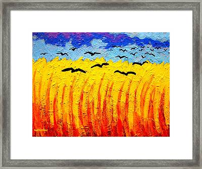 Crows Over Vincent's Field Framed Print by John  Nolan