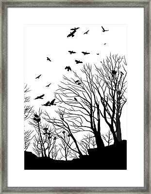 Crows Roost 2 - Black And White Framed Print by Philip Openshaw