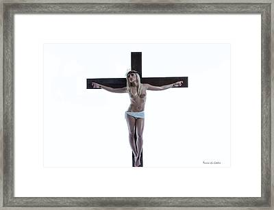 Crucified Christa Framed Print by Ramon Martinez