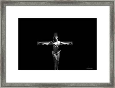 Crucified Woman In Dark Iv Framed Print
