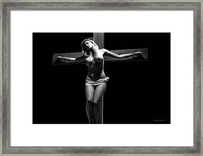 Crucified Woman In Dark V Framed Print