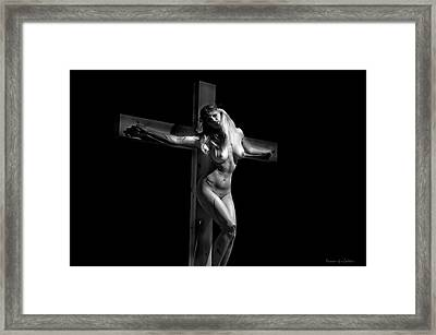 Crucified Woman In Dark Vi Framed Print