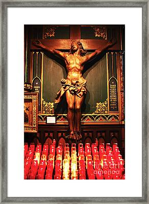 Crucifix At Notre Dame Framed Print by John Rizzuto