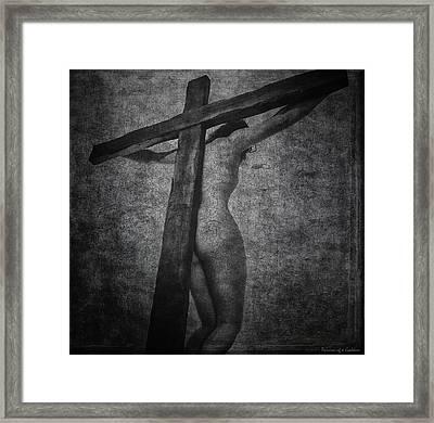 Crucifix In Dark Painting Framed Print by Ramon Martinez
