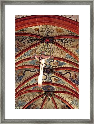 Crucifix In The Carmelite Convent Church In Mainz   Framed Print by Sarah Loft