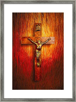 Crucifix On Wood Framed Print by YoPedro