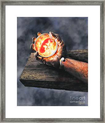 Framed Print featuring the painting Crucifixion Version One Glen Concept by Dave Luebbert
