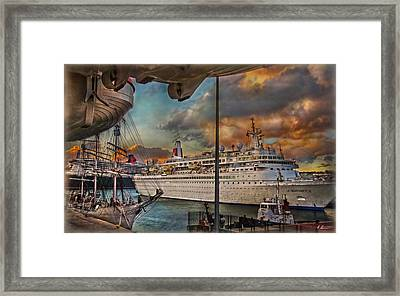 Framed Print featuring the photograph Cruise Port by Hanny Heim
