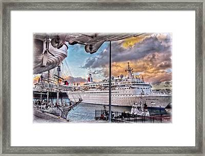 Framed Print featuring the photograph Cruise Port - Light by Hanny Heim