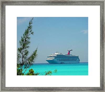 Cruise Ship At Half Moon Cay Framed Print by Gary Wonning