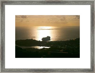 Cruise Ship At Sunset Framed Print by Gary Wonning