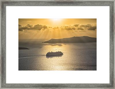 Framed Print featuring the tapestry - textile Cruise Ship In Greece by Kathy Adams Clark