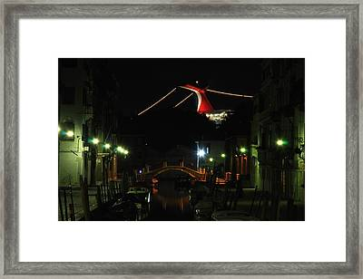 Cruise Ship In Venice Framed Print by Michael Henderson