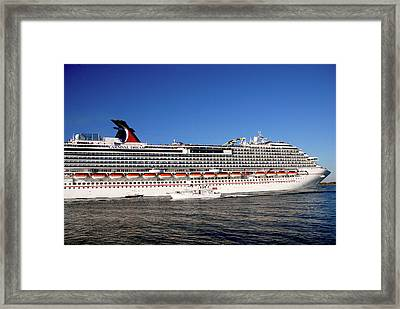 Cruise Ship Is Leaving The Port Framed Print