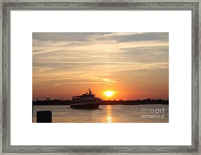Cruising At Sunset Framed Print by John Telfer